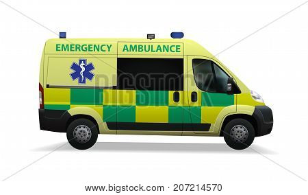 Emergency ambulance. Special medical vehicles. Realistic image Vector illustration