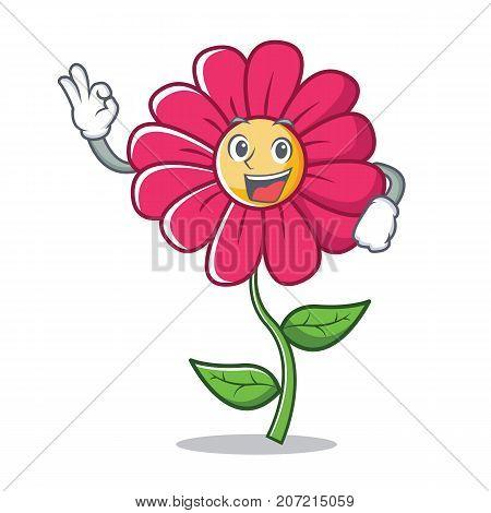 Okay pink flower character cartoon vector illustration