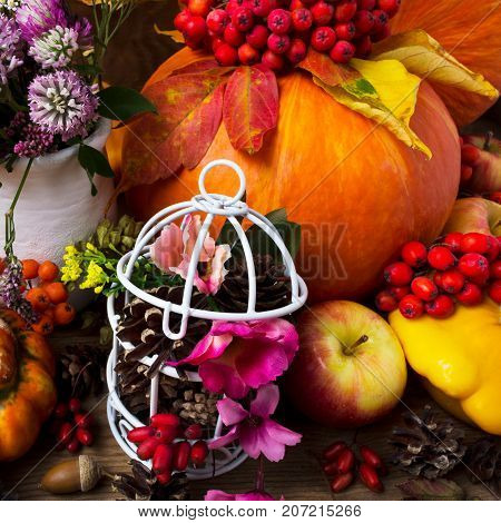 Thanksgiving Table Centerpiece With Decorated Birdcage