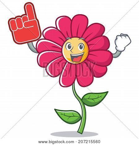Foam finger pink flower character cartoon vector illustration