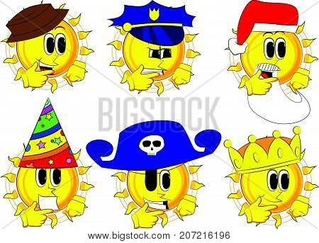 Cartoon sun thinking or pointing to his left side. Collection with costume. Expressions vector set.