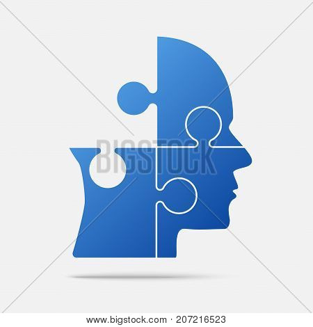 Material Design Blue Puzzle Piece Silhouette Head in a Grey Square - Vector Illustration. Jigsaw Puzzle Blank Template. Vector Object.