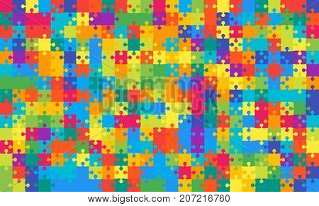 375 Multicolor Material Design Puzzles Pieces - Vector Illustration. Jigsaw Puzzle Blank Template or Cutting Guidelines. Vector Background.