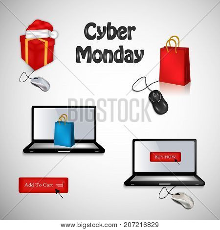 illustration of computer, mouse, hat and shopping bag with Cyber Monday text on the occasion of Cyber Monday