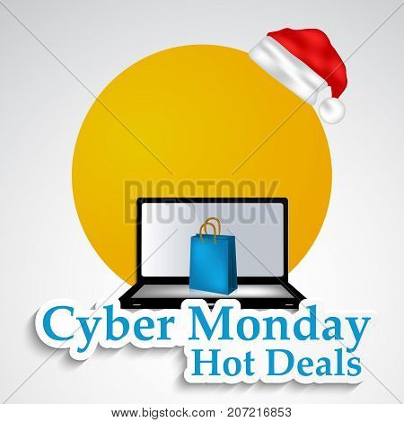 illustration of computer, hat and shopping bag with Cyber Monday Hot Deals text on the occasion of Cyber Monday