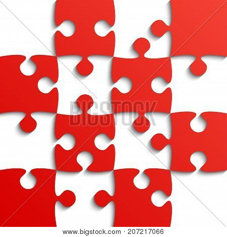 Red Puzzle Pieces - JigSaw - Vector Illustration. Jigsaw Puzzle. Vector Background. Field for Chess.