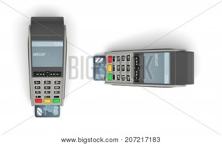 3d rendering of two POS terminals in top view with generic plastic cards inserted on white background. Credit and debit cards. No cash required. Modern shopping equipment.