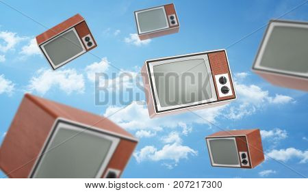 3d rendering of a many brown retro TV boxes with blank screens fly on blue cloudy sky background. Entertainment and leisure. Ads and commercials. Obsolete technologies.