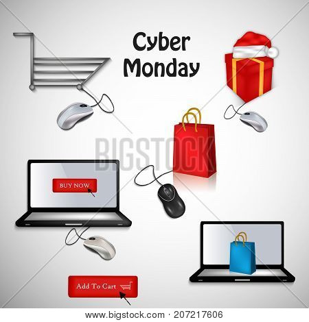 illustration of computer, mouse, hat, gift pack and shopping bag with Cyber Monday text on the occasion of Cyber Monday