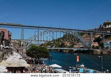 Oporto, Portugal - july 2016: Dom Luis I Bridge over Douro River in Porto Portugal