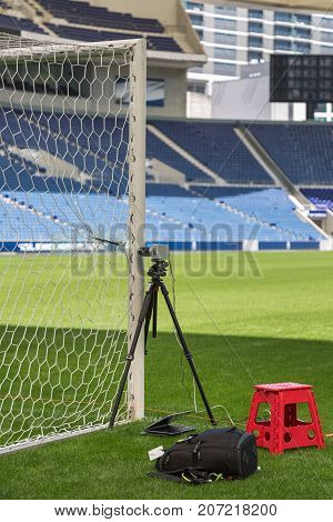 Oporto, Portugal - july 2016: Devices and Equipments for New Goal Post Line Technologies in Empty Soccer Stadium