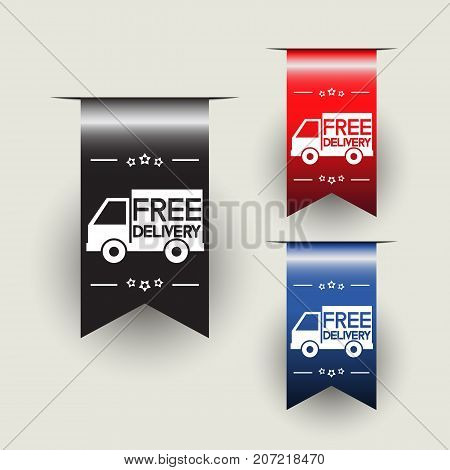 Free delivery labels or ribbons. Vector illustration
