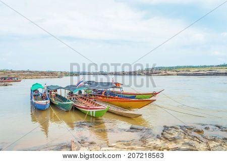 Long tail boat in Sam Phan Boke Ubon Ratchathani Thailand