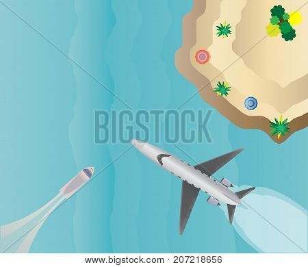Top View  Of Small Private  Jet Airplane Over Sea Scape