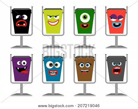 Garbage cans with faces vector illustration. Waste dustbin set with emotions and expressions isolated on white
