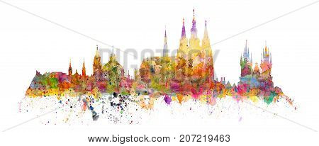 Famous landmarks of Prague - Hradcany - Cathedral of Saint Vitus church of saint Nikolas church of Virgin Mary front Tyn - watercolors art print