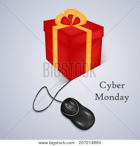 illustration of mouse and gift pack with Cyber Monday text on the occasion of Cyber Monday