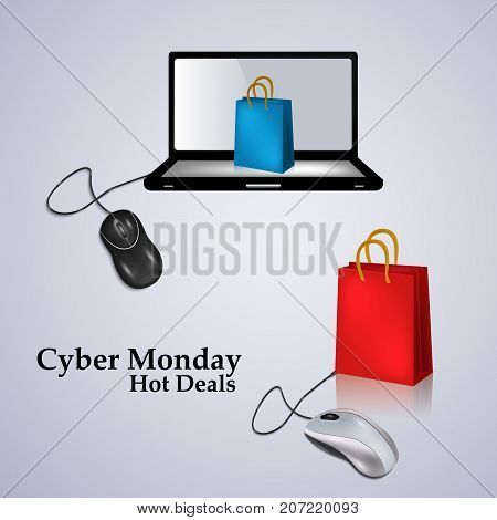 illustration of computer, mouse and shopping bag with Cyber Monday Hot Deals text on the occasion of Cyber Monday
