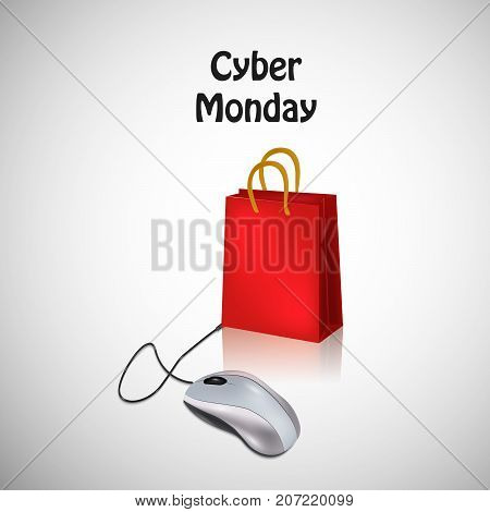 illustration of mouse and shopping bag with Cyber Monday text on the occasion of Cyber Monday