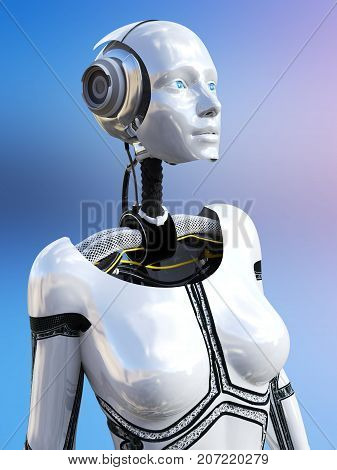 3D rendering of a female android robot against a multicolored background.