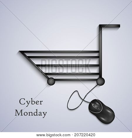 illustration of mouse and shopping trolley with Cyber Monday text on the occasion of Cyber Monday