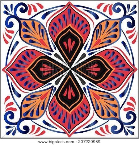 Drawing of a floral mandala in blue orange and red colors on a white background. Hand drawn tribal vector stock illustration