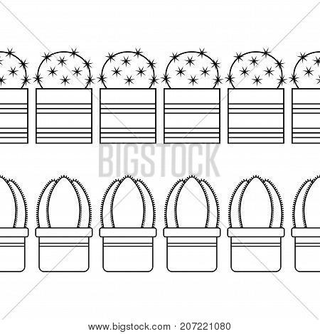 Black and white illustration of ornamental cacti and succulents for coloring books, pages. Vector