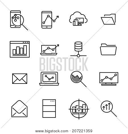 Simple collection of program development related line icons. Thin line vector set of signs for infographic, logo, app development and website design. Premium symbols isolated on a white background.