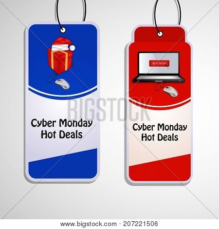 illustration of sale tags in computer, mouse, hat and gift pack background with Cyber Monday Hot Deals text on the occasion of Cyber Monday