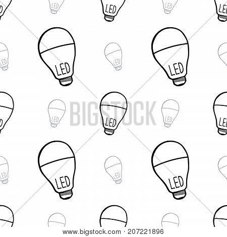 seamless led light blub background. vector illustration doodle hand drawing.