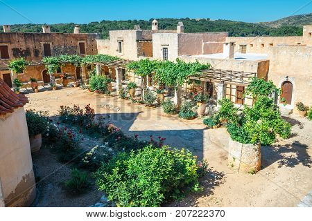 The Courtyard Of Arkadi Monastery On Crete Island, Greece