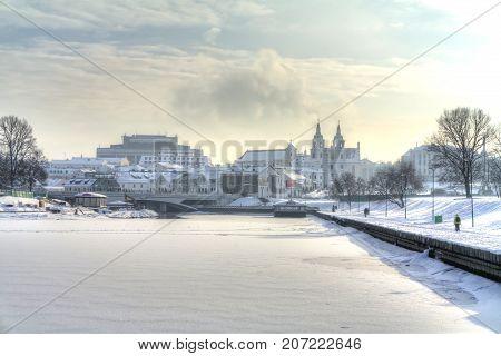 MINSK BELARUS - January 18.2017: City landscape. Svislach river bank in the city center