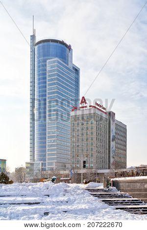 MINSK REPUBLIC OF BELARUS - January 16.2017: Winter cityscape. Modern office buildings on boulevard of Winners in the city center
