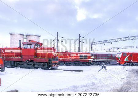 MINSK BELARUS - January 18.2017: Parking of locomotives in anticipation of routine maintenance