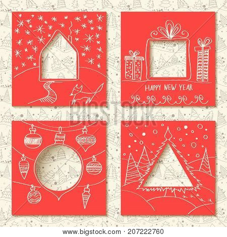 Vector set of four templates for paper Christmas cards. Red squares with holes in the form of figures and manual white festive drawing in foreground. Seamless thin line pattern with firs on background.