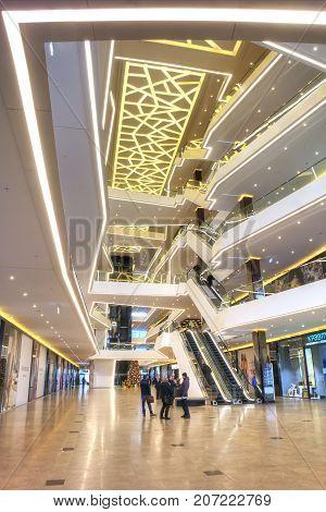 MINSK BELARUS - January 18.2017: Interior of modern municipal shopping center