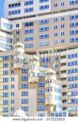 Minsk. The facade of the beautiful modern new home in the city centre