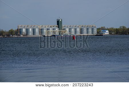 Row Of Granaries On A Bank Of River Dnieper