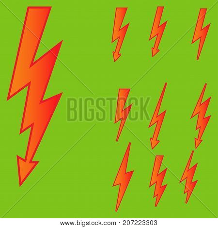 Set of line icons representing lightning bolt, lightning strike or thunderstorm. Suitable for voltage, electricity and power signs. Vector Illustration
