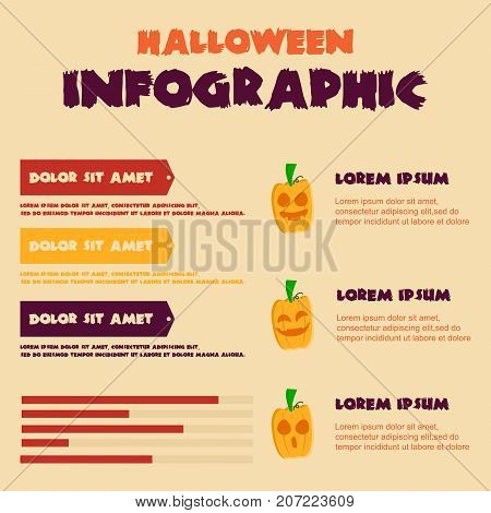 Halloween Infographic design collection stock vector illustration