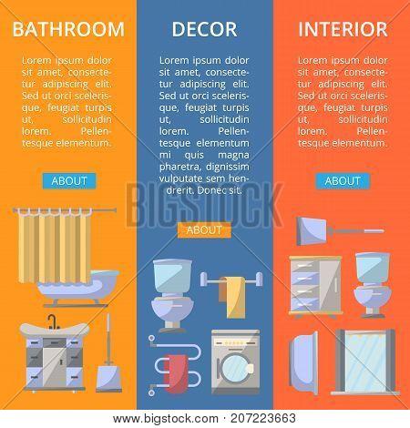 Bathroom interior decor flyers set. Home renovation design, modern apartment decoration banners. Washing machine, shower cabin, toilet, bathtub, towel dryer, washbasin vector illustration.