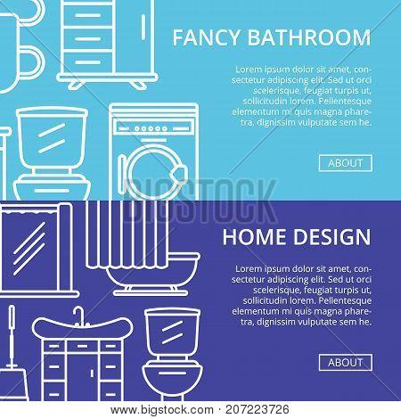 Fancy bathroom poster set in linear style. Home interior renovation, modern apartment decoration banners. Washing machine, shower cabin, toilet, bathtub, towel dryer, washbasin vector illustration.