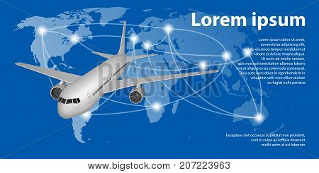 Flying airplane on World map with trace line. Travel airplane banner concept with copy space. Vector illustration ESP 10