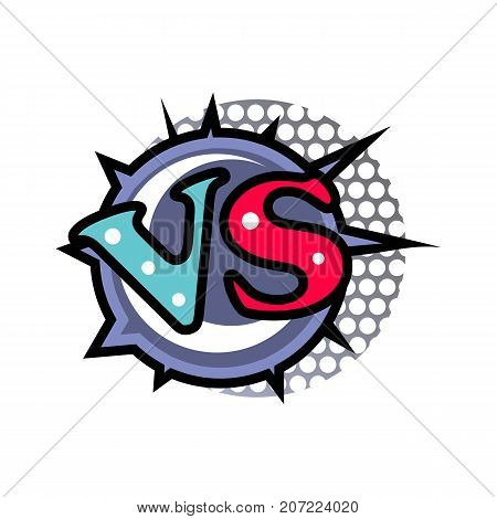 Versus logo in cartoon style. Fight opposition symbol, VS bright colorful element vector illustration