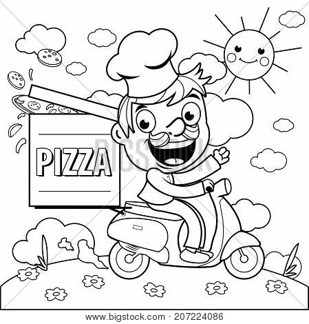 A cartoon pizza delivery man in chef uniform riding a scooter and delivering a pizza. Black and white coloring page illustration