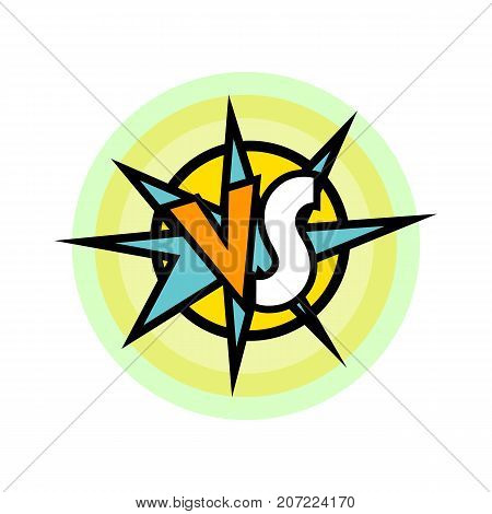 Versus battle intro in cartoon style. Fight opposition symbol, VS bright colorful element vector illustration