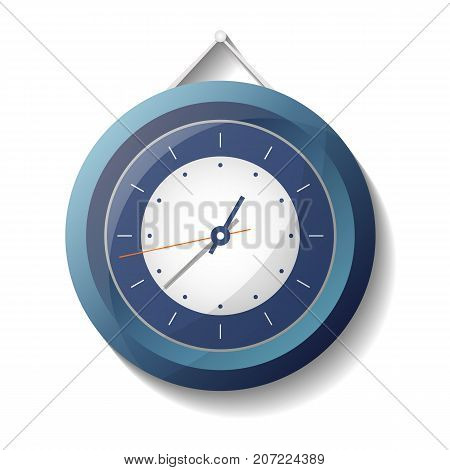 Classic round mechanical wall clock icon. Analog chronometer isolated vector illustration in flat style.