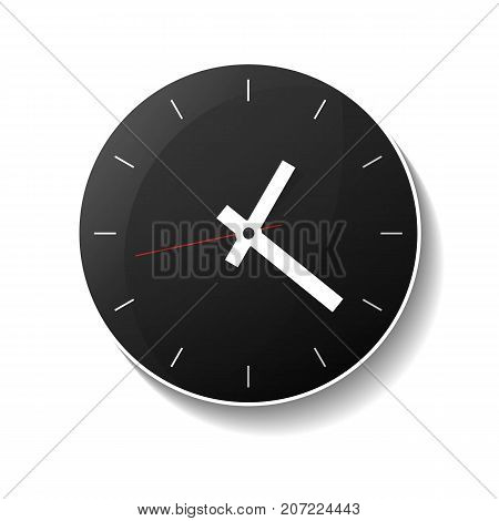 Classic round black wall clock icon. Analog chronometer isolated vector illustration in flat style.