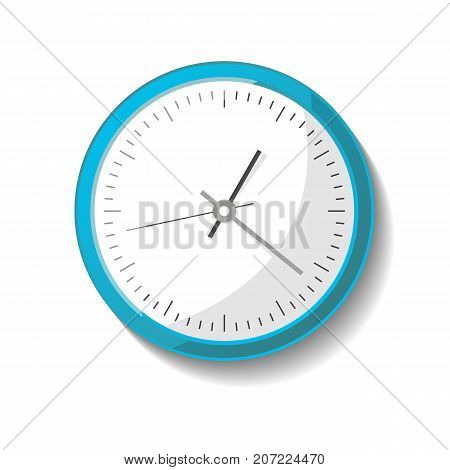 Round modern office wall clock icon. Analog chronometer isolated vector illustration in flat style.