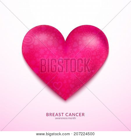 Realistic pink heart, Breast cancer awareness month concept design, vector illustration